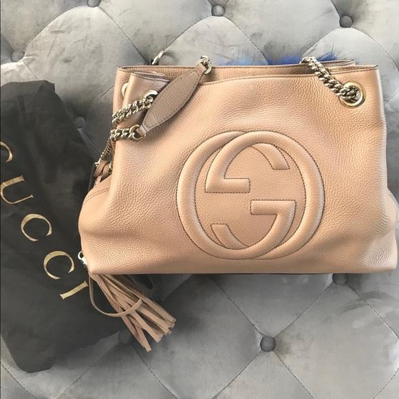 Gucci Handbags - Gucci Camelia Camel Pebbled Soho Shoulder Handbag